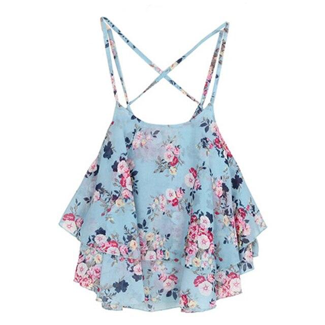 Women Summer Tops Shirts Beach Wear Strap Bikini Cover Ups Women Tank Top Candy Color Double Layer Chiffon Shirts For Ladies 5