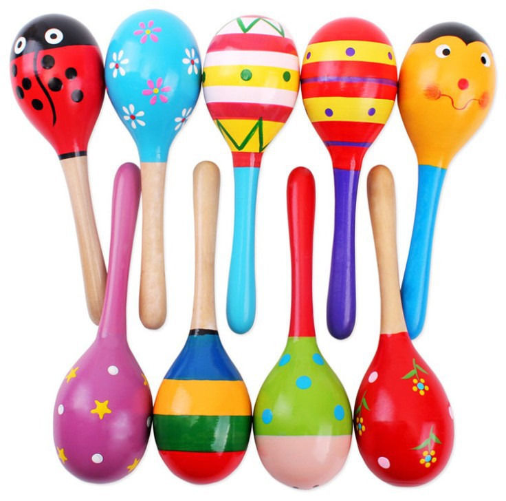 Colorful Wooden Maraca Baby Infant Musical Developmental Rattle Shaker Party Toy