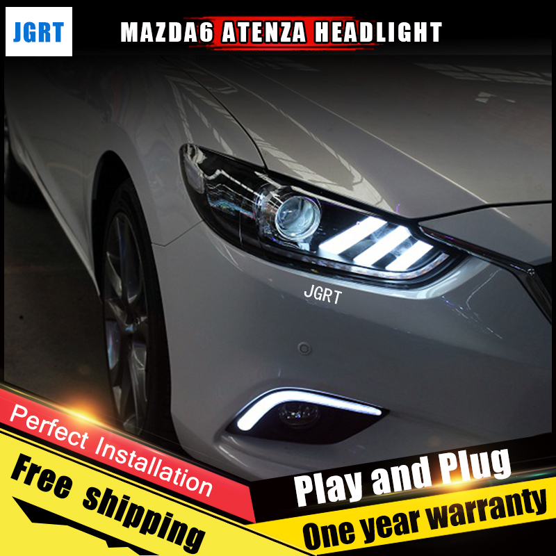 2PCS Car Style LED headlights for Mazda 6 2014-2015 for Mazda 6 head lamp LED Lens Double Beam H7 HID Xenon bi xenon lens hireno headlamp for mercedes benz w163 ml320 ml280 ml350 ml430 headlight assembly led drl angel lens double beam hid xenon 2pcs