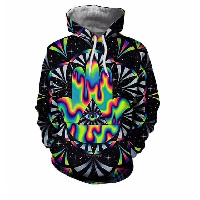 Trippy hamsa Printed 3d Hoodies Men Hoodie Autumn Sweatshirts Unisex Pullover