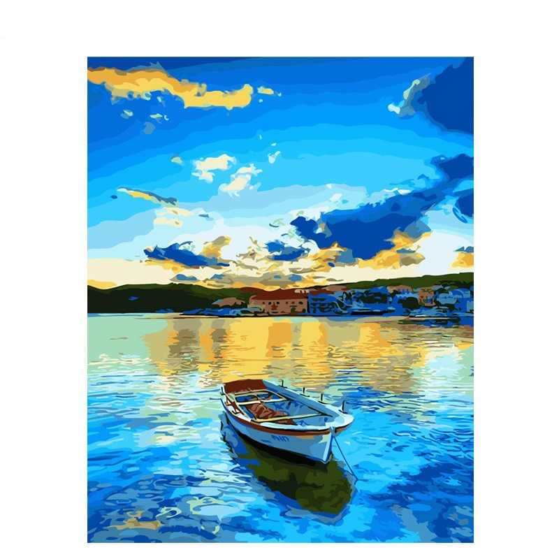 CHENISTORY Frameless Lake Boat DIY Painting By Numbers Painting Calligraphy Acrylic Paint By Numbers For Home Wall Decor 40x50cm