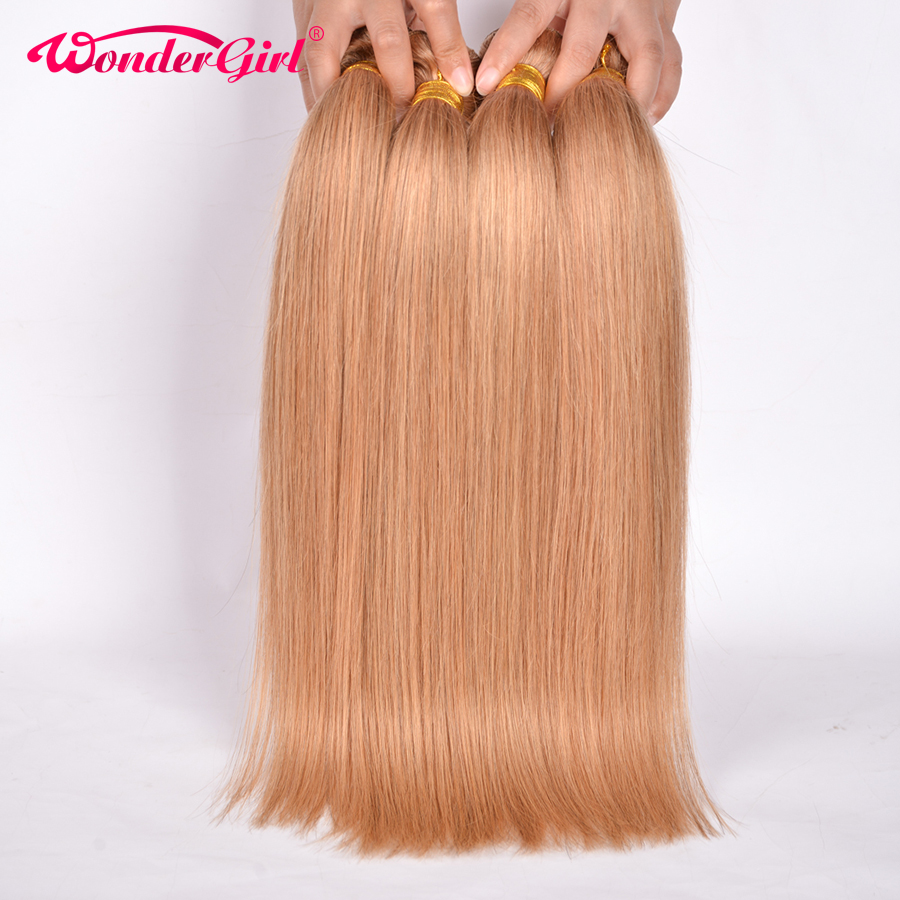 Wonder girl 3 Bundle Deals Color 27 Honey Blonde Brazil Lurus Rambut Tambahan 100% Rambut Manusia Bundle 12-24inch Non-remy