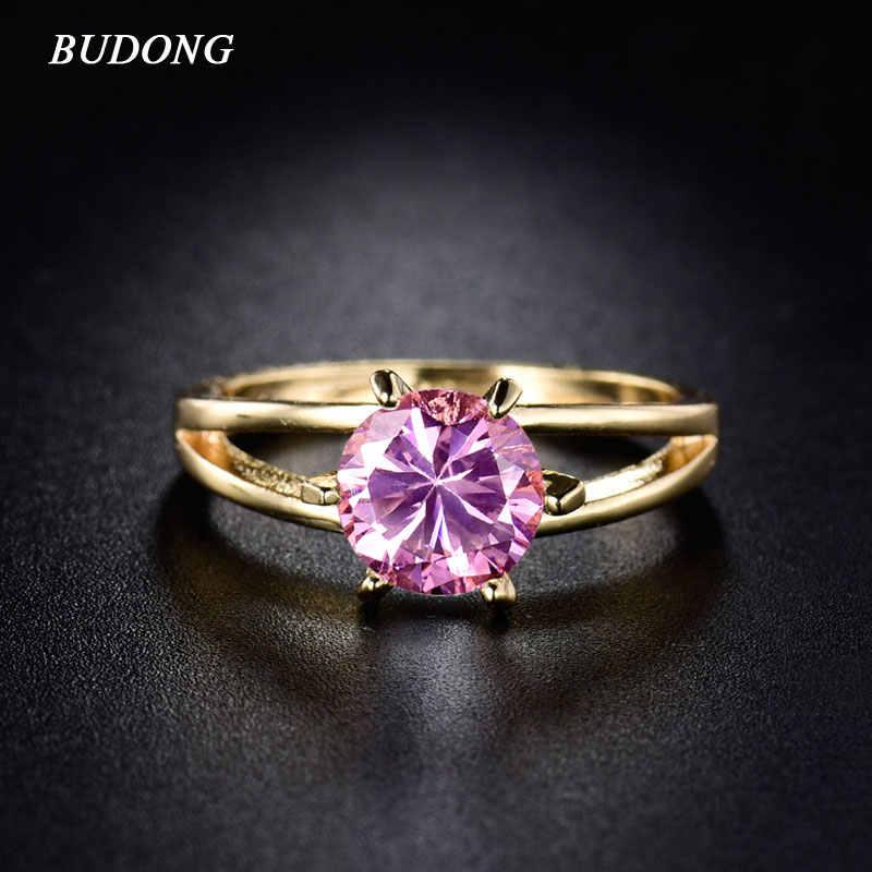194c34b7f4f1 Budong lujo oro color dedo Anillos para las mujeres Rosa piedra cúbicos  zirconia cristal austriaco Alianzas