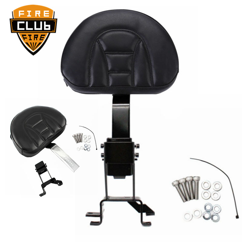 Motorcycle Adjustable Plug In Front Driver Rider Seat Backrest Mounting Kit Black/Chrome  For Indian Models 2014-2018