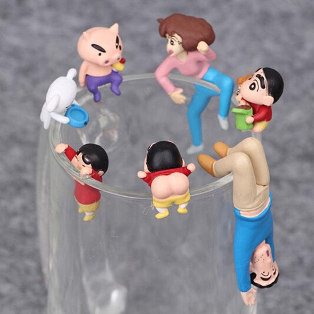 7 sztuk/partia Cosplay japonia Anime kredka Shin-chan puchar krawędzi Nowara Shinnosuke pcv Action model figurki lalki dla dzieci prezenty