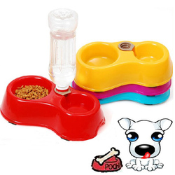 Pet double dog food dish feeding food bowl puppy automatic water dispenser mouth plastic pet water.jpg 250x250