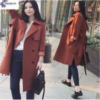 TNLNZHYN Korea 2017 Spring New Women Coat Elegant Temperament Lapel Long Sleeves Long Section Pure Color