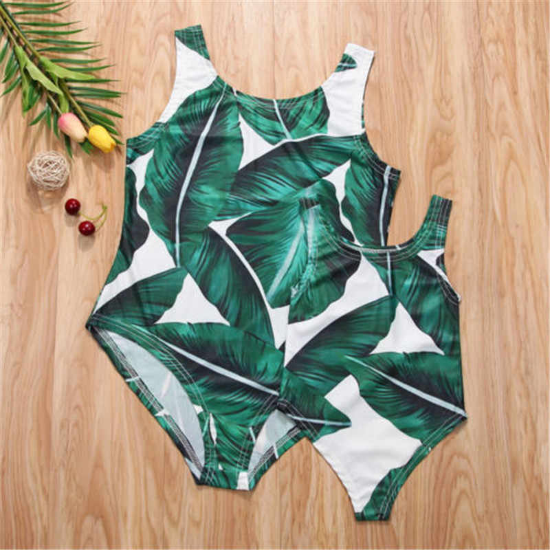8a9bb421663de Detail Feedback Questions about Family Matching Swimwear Mother Daughter  One piece Swimsuit Green Palm Print Swimsuit Summer Family Look Kid Women  Bathing ...
