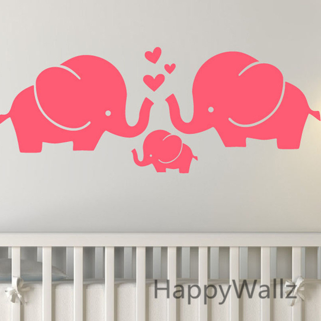 Elephants Wall Sticker Baby Nursery DIY Elephant Removable Wall Decals Kids  Room Decorating Children Animal Wall
