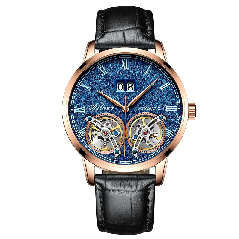 AILANG 8221B Switzerland watches men luxury brand Automatic Double Tourbillon Skeleton Business Watch relogio masculino ailang 8221a switzerland watches men luxury brand automatic double tourbillon moon phase hollow business watch relogio masculino