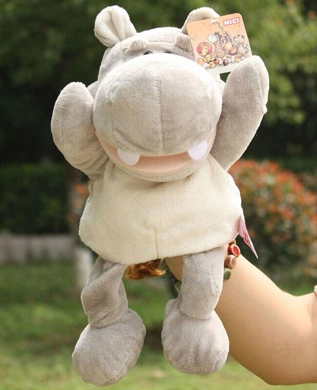 Histoire jouet 1 pc 30 cm de bande dessinée stéréo rivière hippopotame hippopotame main marionnettes en peluche pacifier en peluche éducatifs enfants infantile cadeau