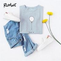 ROMWE Woman S Fashion 2017 Summer Crop Tops Women Pale Blue Ballon Print Short Sleeve T