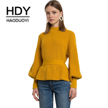 HDY Haoduoyi 2018 Relaxed Women Lantern Long Sleeve Pullover Basic Belt Halter Christmas Sweater Autumn Exy Backless Pure