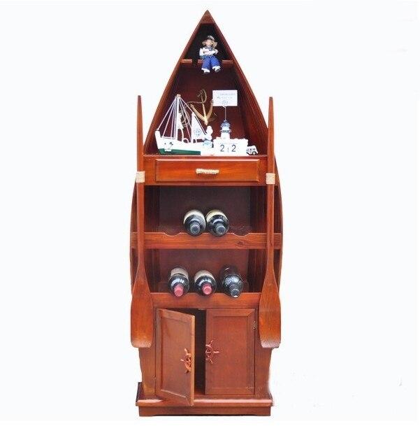 European Mediterranean Creative Handmade Wood Wine Racks Personalized Wine  Cooler Cabinet Storage Lockers Ship Boat Cooler