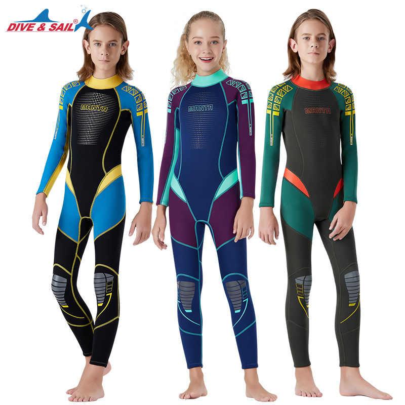 2019 Kids 2.5mm Neopreen Een Stuk Wetsuit Surfen Pak Badpak Zon-proof Jongens Volledige Cover Dikke Warme Badmode jonge Man Gift