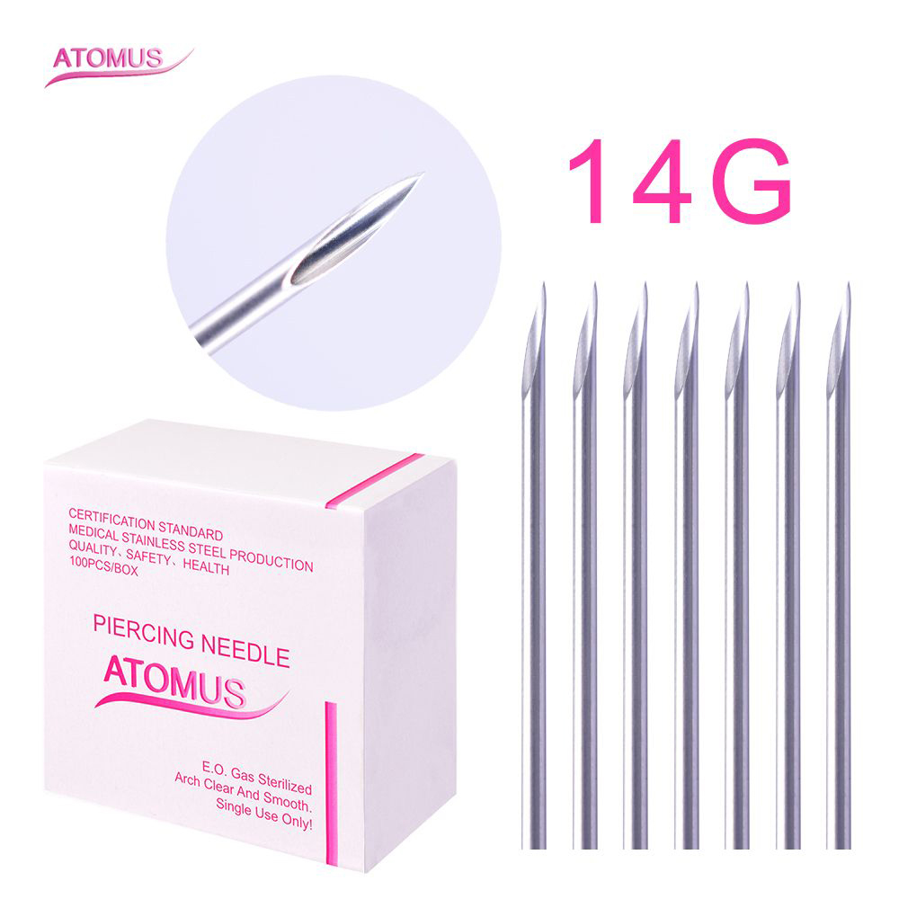 Professional 100PCS Piercing Needles Mixed 14G 16G 18G Sterile Disposable Body Piercing Needle For Ear Nose Navel Nipple