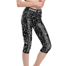 Women Black and White Wave Texture Fitness Active Mid-Calf Leggings Female Fashion Print Workout Skinny 3/4 Length Skinny Pants