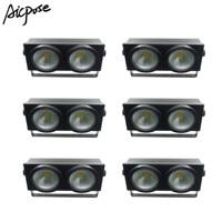 6pcs/lots 2 Eyes LED COB Stage lights Blinder Light Cold White/Warm White 2in1 COB light 2x100W Audience light