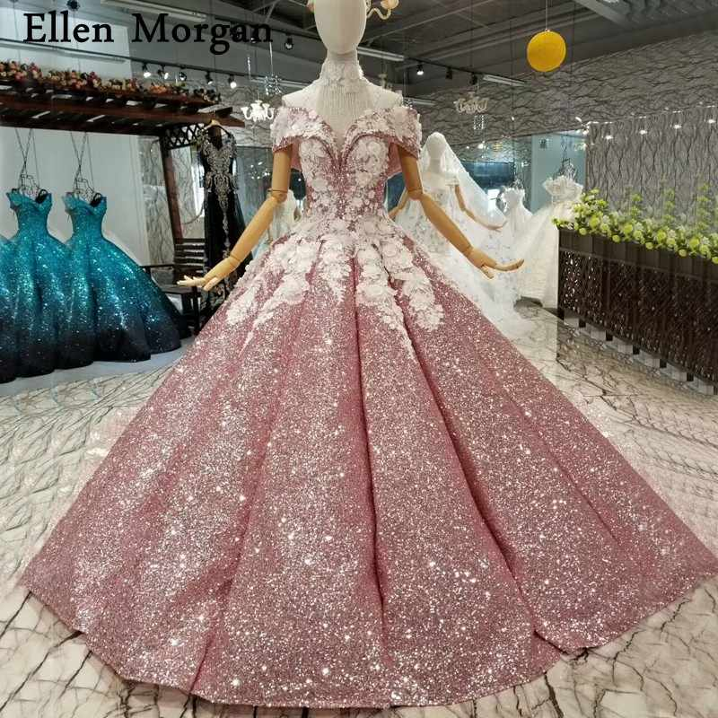 Elegant Ball Gowns Wedding Dresses 2019 Custom Made Sexy Off Shoulder 3D  Flowers Beaded Glitter Real 5c3fd0e59d98