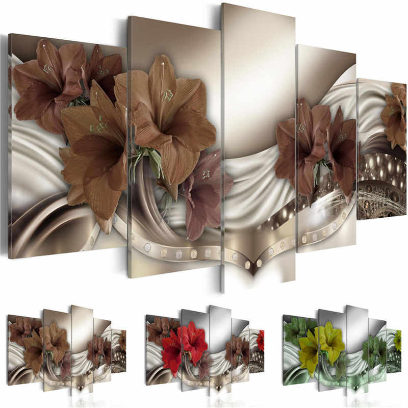 Canvas Wall Art Pictures Modular Home Decor 5 Pieces Beautiful Lily Equisite Diamond Background Painting Printed Flowers Poster