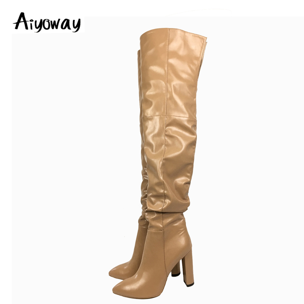Aiyoway Fashion Women Ladies Pointed Toe High Heel Over The Knee Boots Block Heel Slouchy Winter Dress Shoes Beige US Size 5~15 peter block stewardship choosing service over self interest