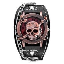 Top Luxury Brand Leather Fashion Bracelet Quartz Watch Skull Cool Men Women Wrist Watch Wristwatches Clock Hour 1201704076