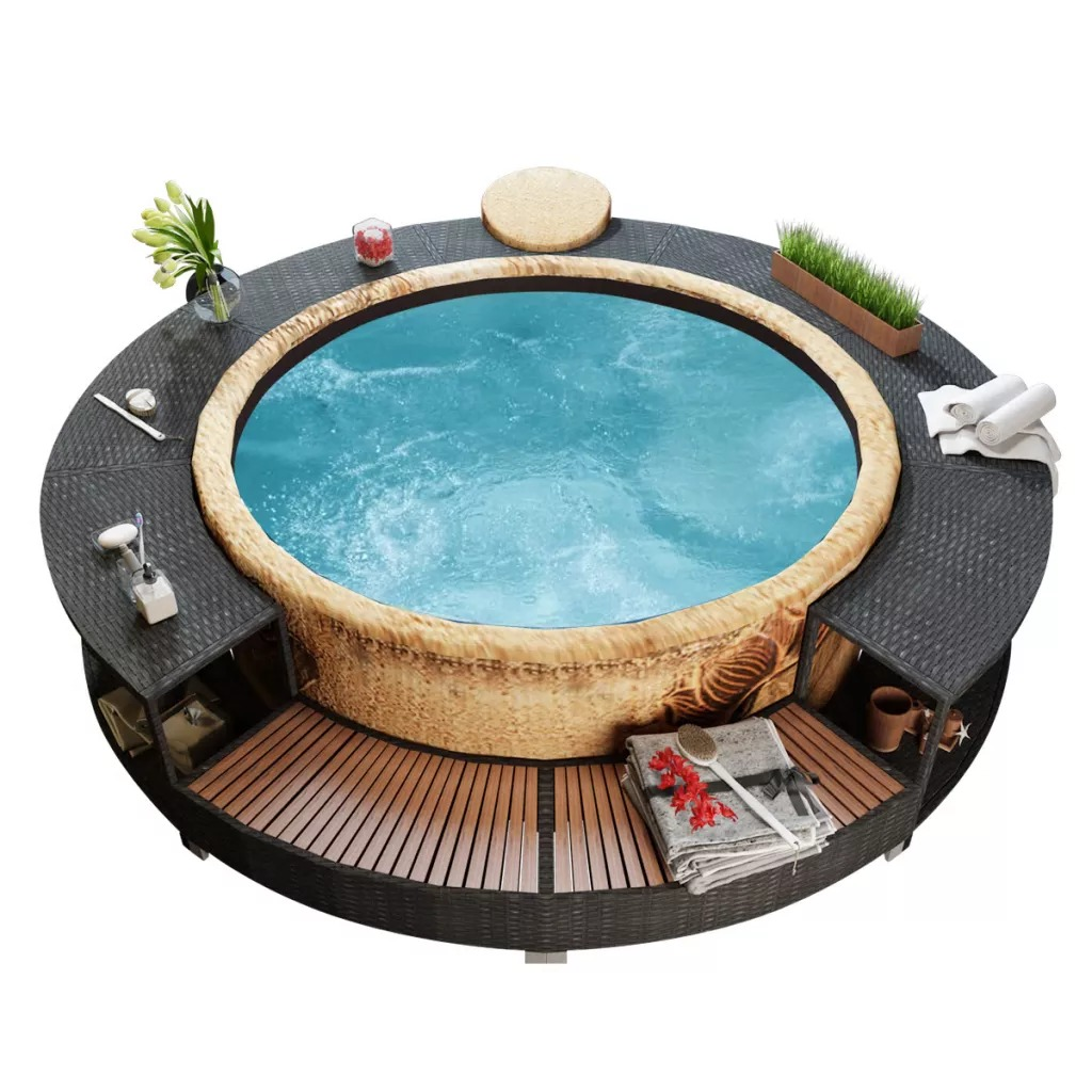 VidaXL Black Poly Rattan Spa Surround Witn Robust Steel Frame And Weatherproof Eucalyptus Tropical Hardwood