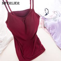 Mferlier Women Padded Bra Tank Top Wine Red Cotton Tanks Tops Push Up Basic Tops Cropped