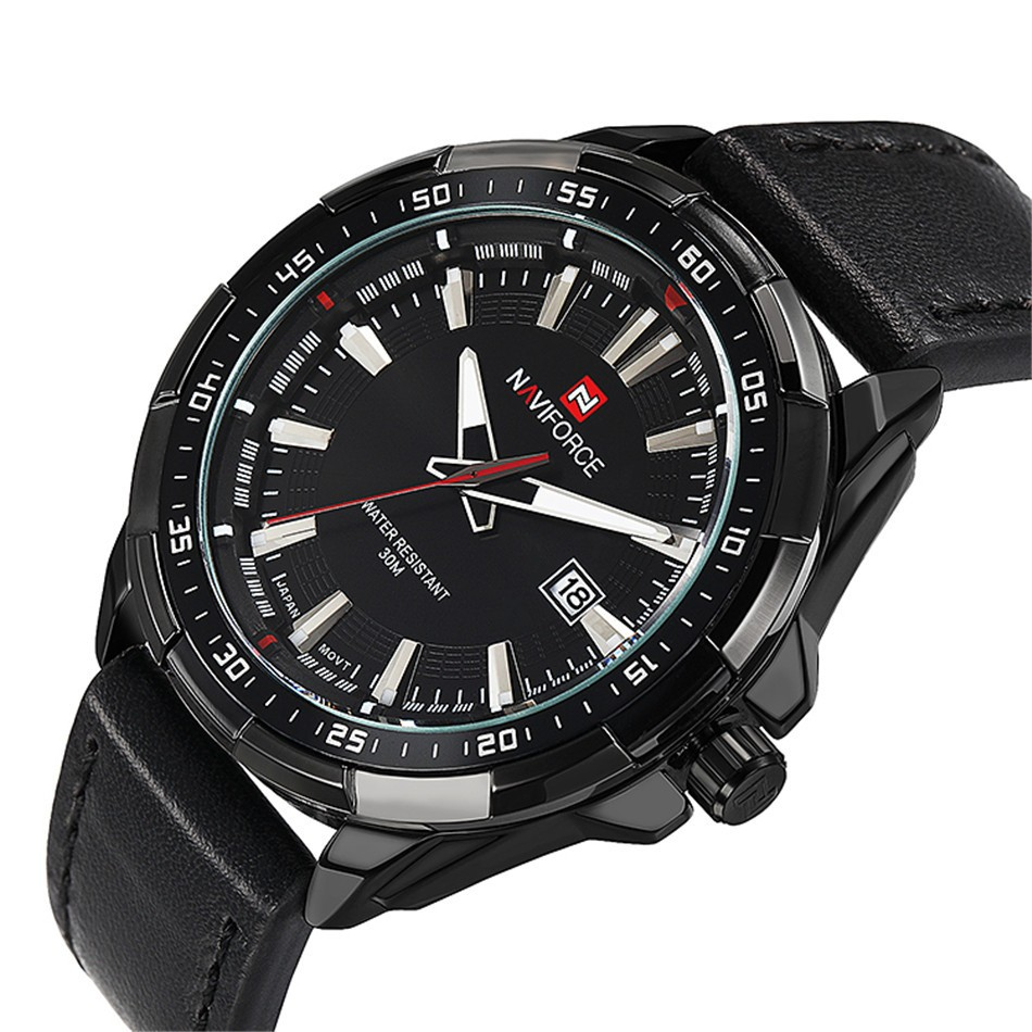 Naviforce Men Quartz Watch with Black Leather Strap