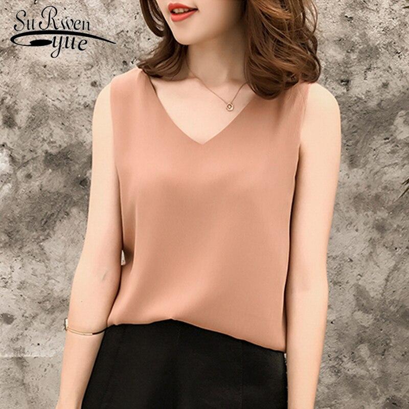 Fashion women tops and   blouses   2019 white   blouse     shirt   sexy sleeveless   shirt   plus size ladies top chiffon   blouse   blusa 0376 40