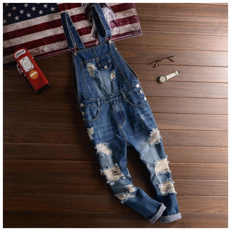 Big Size Men's Jeans Denim Overalls Fashion Mens Ripped Denim Jumpsuits Jeans 2018 Male Skinny Distressed Bib Overalls Jean Pant