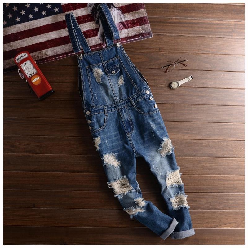 Big Size Men's Jeans Denim Overalls Fashion Mens Ripped Denim Jumpsuits Jeans 2018 Male Skinny Distressed Bib Overalls Jean Pant