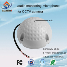 SIZHENG Dome CCTV audio mircophone voice pick up sound monitoring security camera system for security fiance audio pick up mini cctv microphone for camera security rca audio output dc 12v power cable kit for cctv for security dvr system