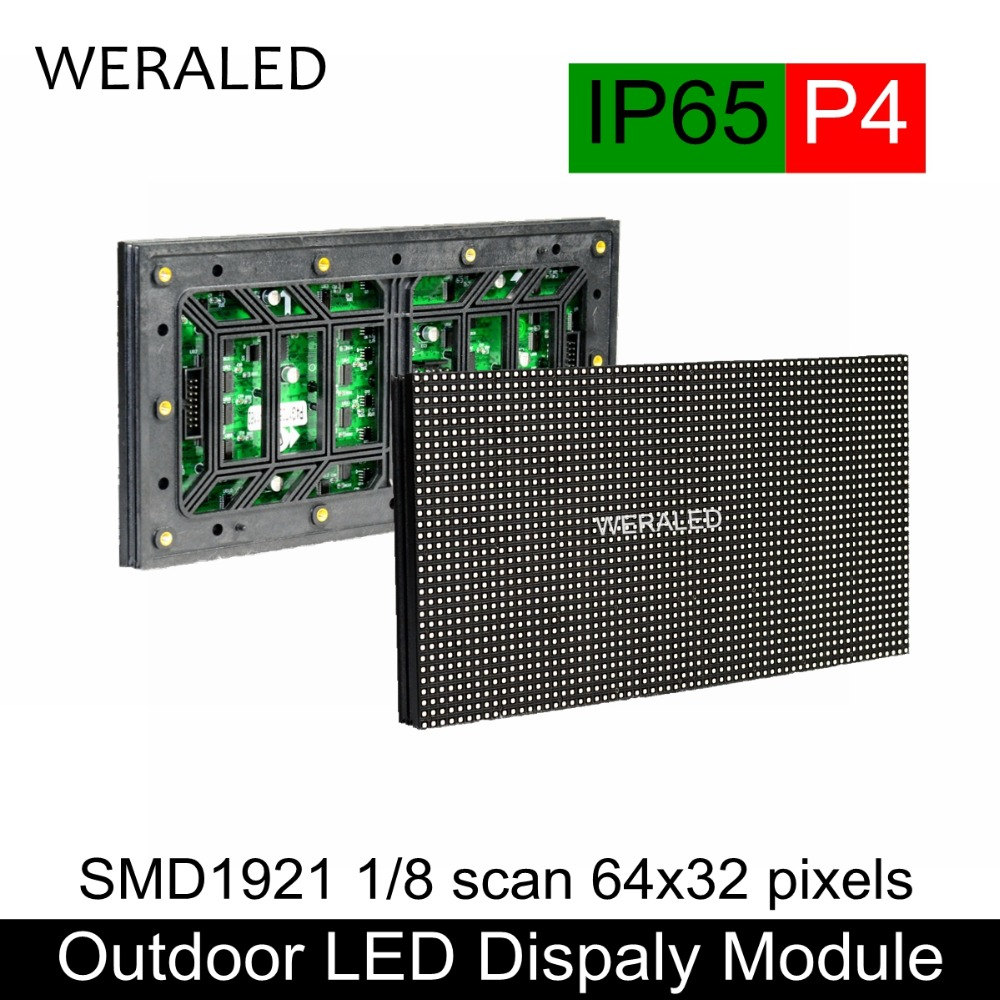 WERALED Outdoor P4 SMD1921 Full Color LED Video Wall Module 256*128mm 64*32 Pixels P4 Outdoor LED Signboard RGB Panel Unit led screen indoor display p4 256 128mm 64 32 pixel 1 8 scan 3 in1 smd2121 rgb full color led module dot for led video wall sign