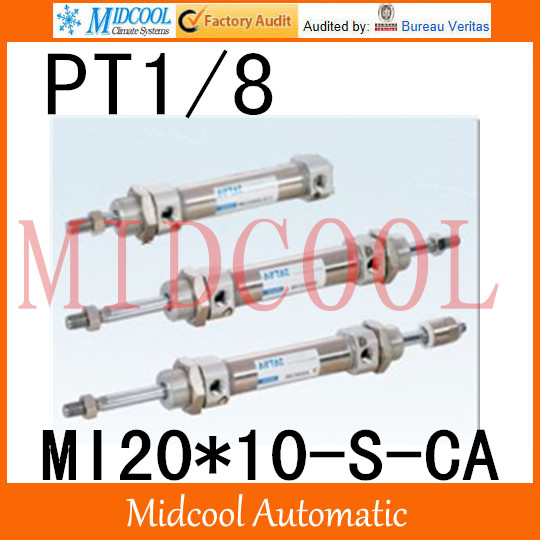 MI Series ISO6432 Stainless Steel Mini Cylinder  MI20*10-S-CA  bore 20mm port PT1/8 купить в екатеринбурге переходник mini iso