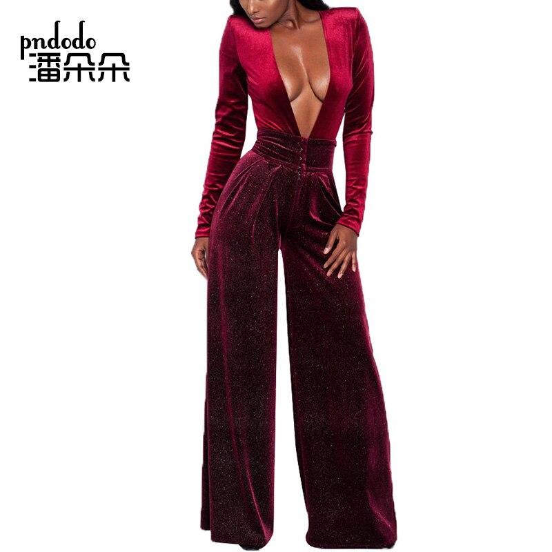 Pndodo Plus Size Velvet Sexy Deep V Neck Party Jumpsuit Women Wide