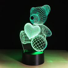 Cartoon Cute Heart Bear Shape Acrylic LED Lamp 3D Baby Night Light Sleeping Lighting For Children Night Light Xmas SA714 T45