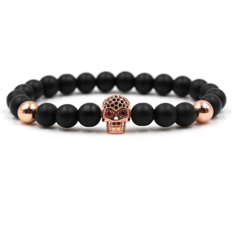 HOBBORN Classic Black Natural Stone Women Men Bracelet Luxury Skull Head Beads Bracelets Healing Meditation Hip Hop Jewelry Cruz in Charm Bracelets from Jewelry Accessories