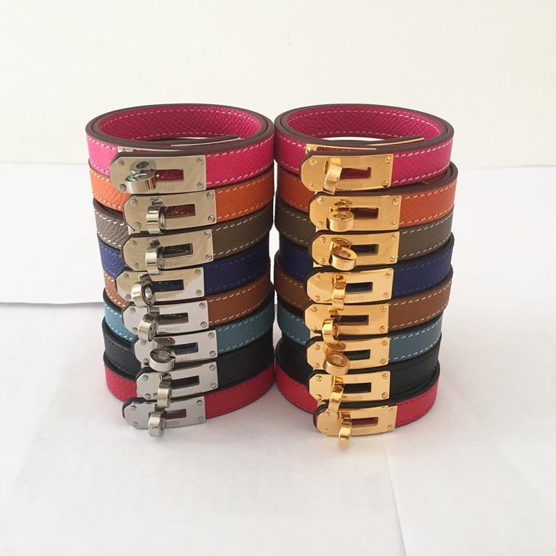 Marque Punk Style Geniuin cuir femmes Bracelet de mode couleur bonbon Double couche femmes Bracelet & Bracelet livraison directe