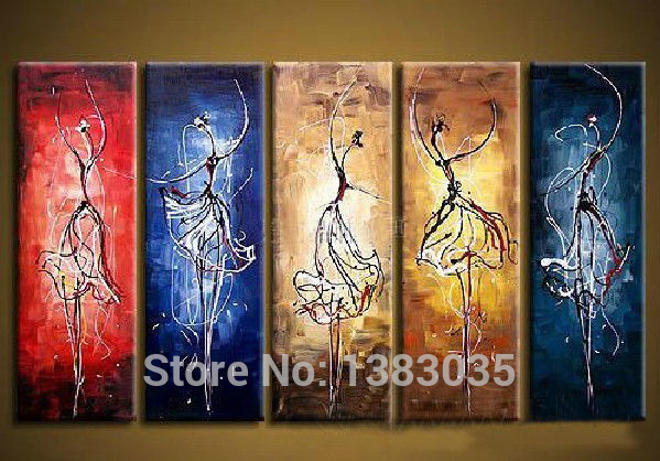 Hand painted modern abstract women ballet painting wall for Decor mural a tapisser