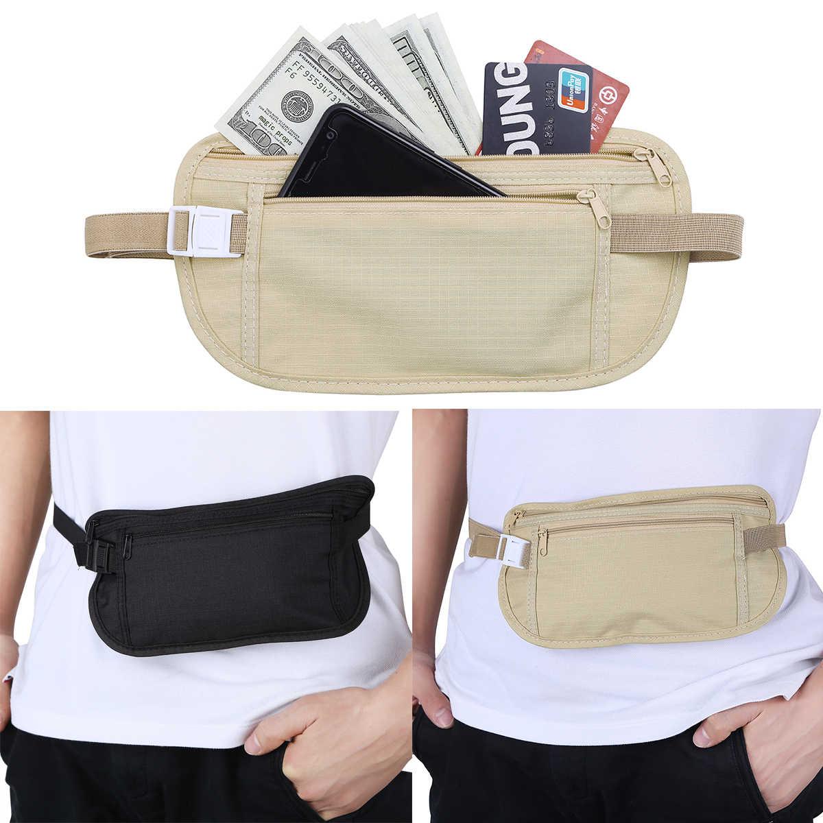83faec25de7 Bolso de cintura de viaje para hombre y mujer con bolsillo interior con cremallera  para dinero
