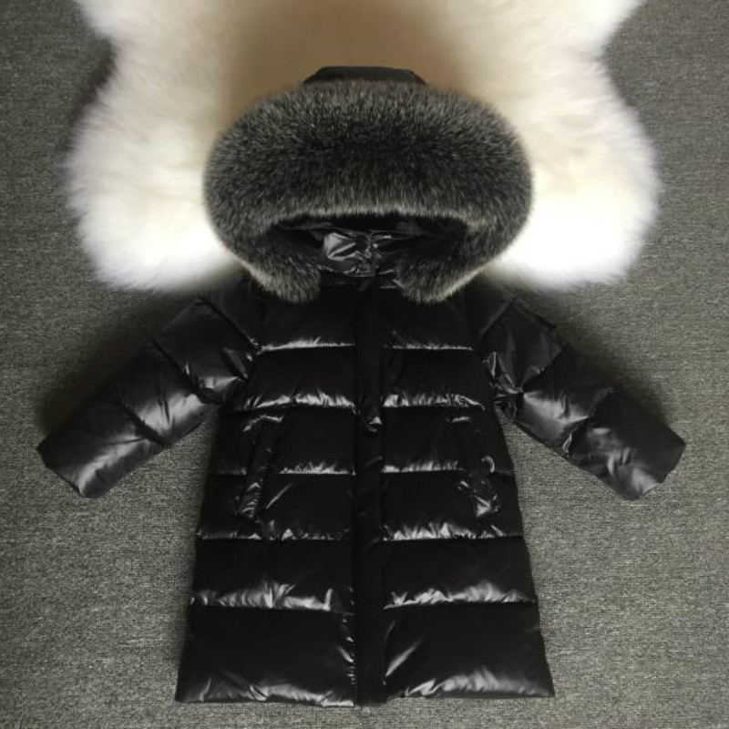 NEW 2018 Fashion Girls Winter Coats for Boys Child Down Jackets Outerwear Waterproof Medium-long Thick Real Fur Hooded 1-14Y
