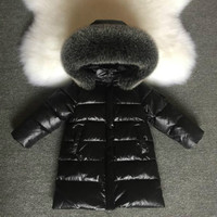 NEW 2018 Fashion Girls Winter Coats for Boys Child Down Jackets Outerwear Waterproof Medium long Thick Real Fur Hooded 1 14Y