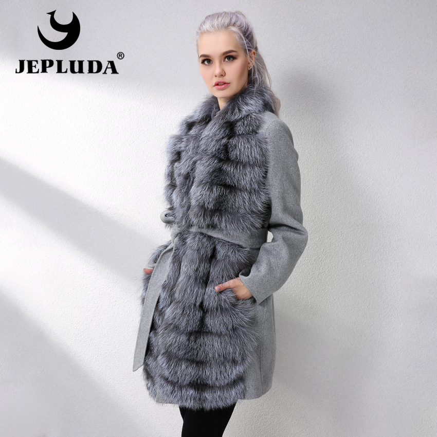 JEPLUDA New Cashmere Coat Women With Genuine Real Fox Fur Natural Real Fur Coat Winter Genuine Leather Jacket Women Fur Jackets