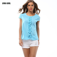 New 2016 Summer Style Women Candy Colors Blusas Sexy Casual Chiffon Tops Short Sleeve Solid Shirts