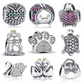 Original 925 Sterling Silver Crystal Stone Round Shape Pendant Fit Pandora Bracelet with Cubic Zirconia Charms Animals