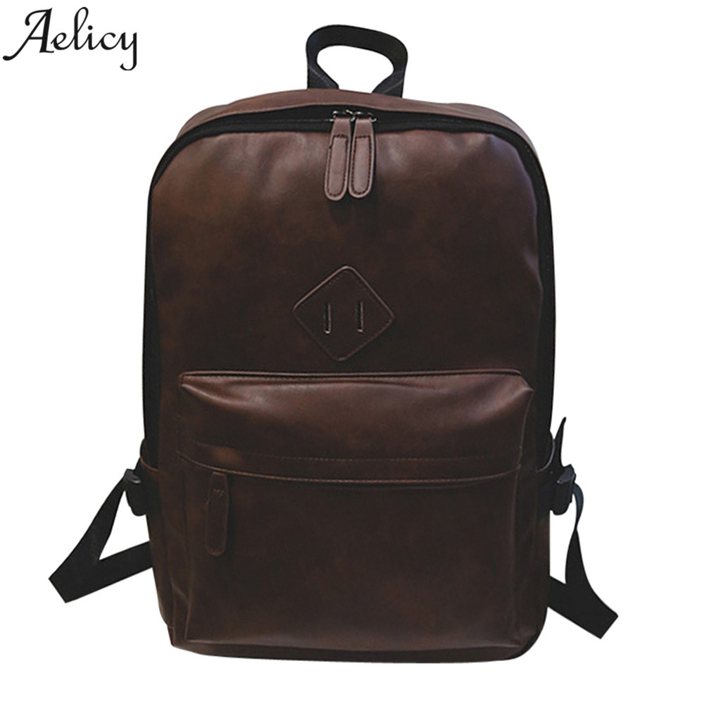 цены на Aelicy Men shoulder strap zipper solid casual bag male Laptop Satchel korean Travel School Rucksack PU leather 2018 new design