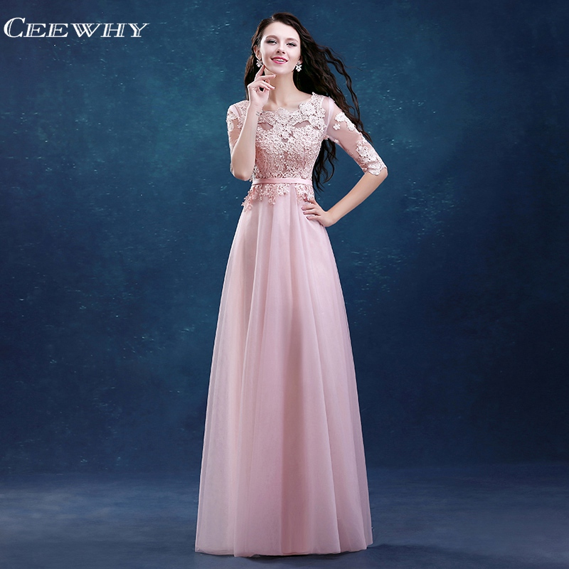 CEEWHY Half Sleeve   Evening     Dresses   Embroidery Plus Size Long Formal   Dress   Tulle Prom Party Gowns Robe de Soiree Abendkleider