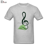 Nature Green Leaf Music Note T Shirt Men S Camiseta Basquete Short Sleeve Cotton Custom 3XL
