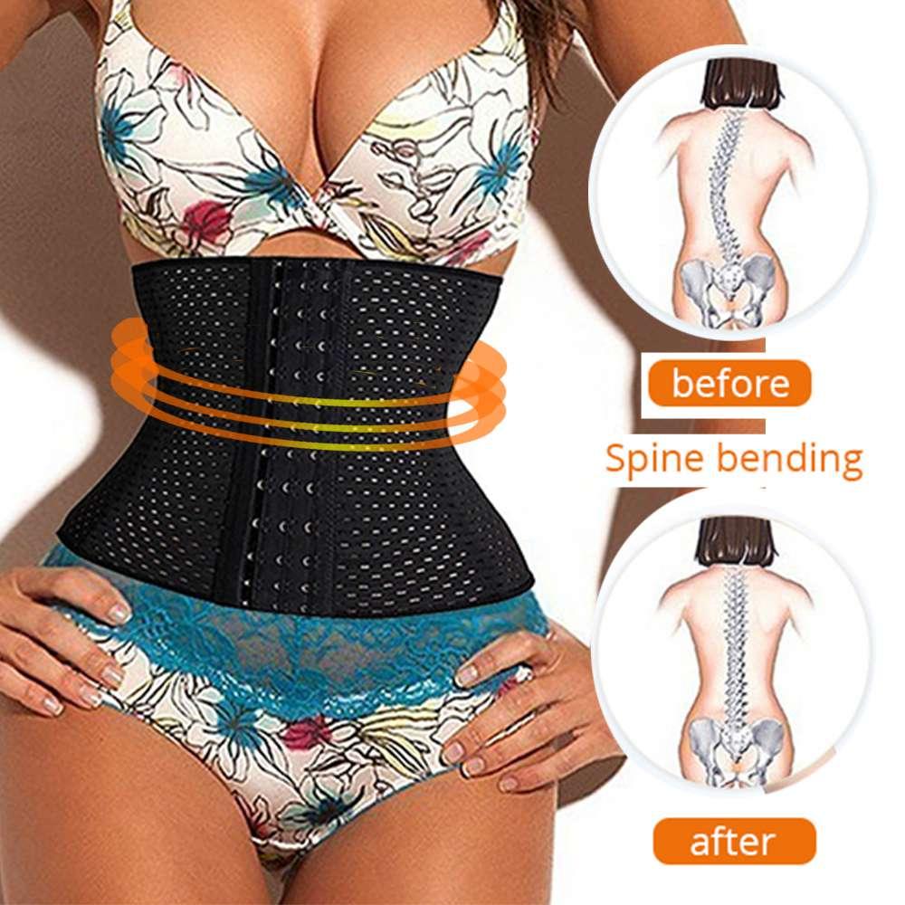 Palicy Women S-3XL 4 Steel Boned Body Trainer Adjustable Slimming Belt Bustiers Shaper Breathable Waist Cincher Corset Plus Size